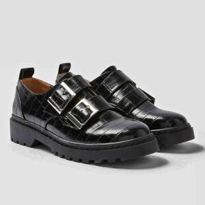 NEW Topshop FRANKIE Ladies Womens Double Buckle Shoes Size 3 4 5 6 7 8 9 BLACK