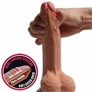 """Dildo For Men Gay Anal Toy Realistic 8"""" Silicone Penis Suction Cup Women Sex Toy"""