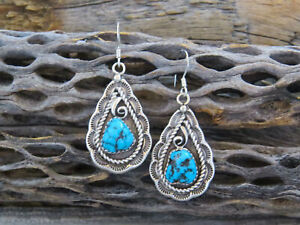 Turquoise Earrings, Navajo Native American Kingman Turquoise Sterling Silver ...