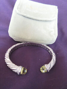 Judith Ripka Sterling Silver Hinged Cuff with Citrine Gemstone Bracelet NWOT MZ