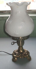 LG WRIGHT/FENTON  MILK GLASS STIPPLE STAR CRIMPED BALL LAMP