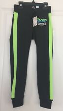 Nwt Justice Girl's Skiny Cuff Black & Neon Green Active Sweat Pants Sz 6R