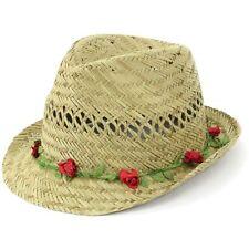 Trilby Chapeau De Paille Fedora Cap Femmes Unisexe Ras Bord Voyage Hawkins Flower Garland