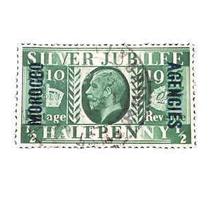 GREAT BRITAIN, MOROCCO, SCO # 226, 1/2p. VALUE GREEN 1935 SILVER JUBILEE USED