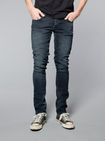 Nudie Herren Slim Fit Stretch Jeans Hose - Grim Tim Org. Blue Strike - W31 L34