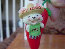 1990 HALLMARK FELIZ NAVIDAD MOUSE in Mexican Chili Pepper Christmas ORNAMENT nb