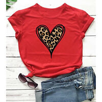 New Fashion Women's Top Short Sleeve Casual Love Leopard Printed Loose T-shirt
