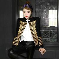Women Wool Blend Double Breasted Military Uniform Blazer Jacket Coats Retro Suit