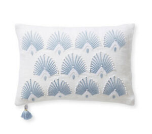 NEW $148 Serena & Lily Monarch Pillow Cover Blue 12 X 18 Inch Coastal Blue