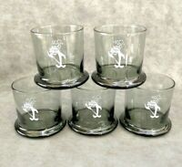 5 Starkist Charlie the Tuna Rocs Old Fashioned Drinking Glasses Smoky Gray VTG