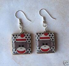 Sockmonkey Earrings Scrabble Altered Art Charm - Sock Monkey - Dangle - Handmade
