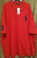 Polo Ralph Lauren Men's Big&Tall Red Classic Fit SS Big Pony Rugby Shirt 6XL