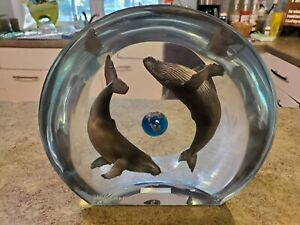 Beautiful Signed WYLAND Acrylic Lucite HUMPBACK PLANET Whales Sculpture RARE