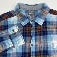 Eddie Bauer Button Up Shirt Mens XXL Blue Flannel Plaid Long Sleeve Casual