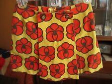 "25W 25"" True Vtg 70s GROOVY PRINT RED/YELLOW COTTON BLEND Skort Shorts"