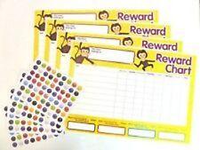 4 x Children's Reward Charts and 252 Stickers for Rewarding Kids School Goals