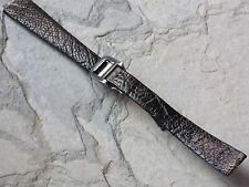 Rare hand-finished Ostrich 15mm ladies vintage watch band steel deployant NOS
