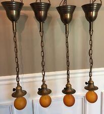 Four matching brass Antique pendant lights with decorative sockets Wired Set 50D
