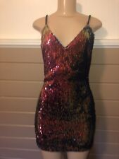 Bodycon Mini V Neck Sexy Sparkle Sequins Cocktail Party Dress Multi Colorful NWT