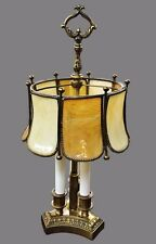 RARE Antique Bouillotte Lamp Slag Stained Glass Bent Panel French Art & Crafts