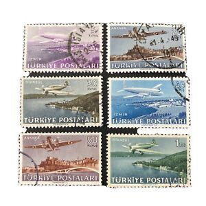 TURKEY, SCOTT # C12-C17(6) COMPLETE SET 1949 AIR POST PLANES OVER CITIES USED