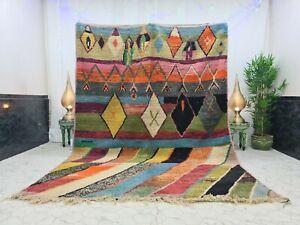 "Moroccan Boujaad Handmade Vintage Rug 7'1""x9'9"" Berber Patchwork Multicolor Rug"