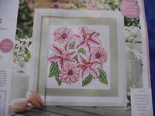 STRIKING SAMPLER OF PINK STARGAZER LILY & GERBERA FLOWERS CROSS STITCH CHART