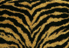 Drapery Upholstery Fabric High-End Heavy Wt Chenille Tiger Print - Black / Gold