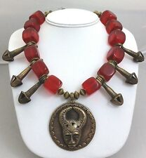 African Baule Bronze Mask Pendant Necklace Dogon Phallus Pendants & Cherry Amber