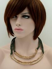 Antique Gold Tone Green Cord Leather Strap Strand/String Statement Necklace 6954