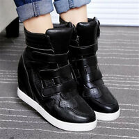 Fashion Womens High Top Hidden Wedge Sneakers Lace Up Casual Shoes Ankle Boots