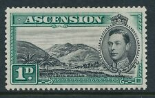 1938-1953 ASCENSION SG39 1d BLACK & GREEN MINT HINGED PERF 13½