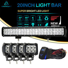 20''Roof Led Work Light Bar+ 4inch Cube Pods Lights+Wiring Kit Offroad FOR Boat