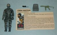 1984 GI Joe Cobra Saboteur Firefly v1 Grey Ninja Figure w/ File Card Accessories