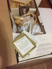 "Franklin Mint Heirloom Porcelain Doll 17"" Winter Christmas Angel Box & COA"