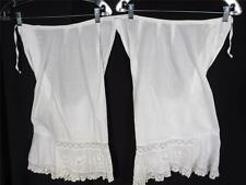 Antique Victorian-Edwardian Hand Embroidered White Cotton Bloomers Size Medium