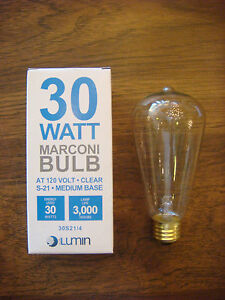 MARCONI EDISON BULB 120 VOLT 30 WATT MEDIUM STANDARD BASE VINTAGE PACK OF 6