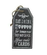 Heaven Sends Eat, Drink & Be Merry Slate Sign - Hanging plauqe - Rustic Style
