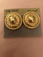 Vintage Monet Round Pierced Earrings 14 Karat Gold Post New on Card