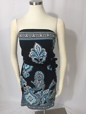 White House Black Market Paisley Damask Teal Blue Strapless Tie Waist Dress XS