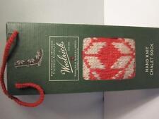 Ladies Woolrich Chalet Hand Knit Sock Slipper Size 8/9 Snowflake Amaryllis Red