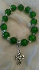 Emerald green Celtic Cross10mm crackle glass bead bracelet Irish  gift bag