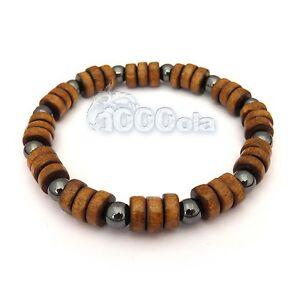 NewMode Bracelet style surfeur/surf homme/men's perles naturelle bois fait main