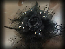 Black Rose Feather Net Mini veil Barrette Bling Clip, Rhinestone Bridal Hair Pin