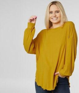 Free People Shimmy Shake Untamed Gold Long Sleeve Tunic Top Women's Size Large