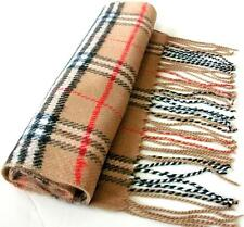 Mens Plaid Scarf Soft Warm Acrylic Scarves Wrap Beiges Checks Unisex Camel