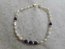 "14k yellow gold clasp&  bead, pearl & lapis bead 7"" strand bracelet"