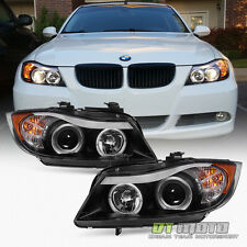 Blk 2006 2007 2008 BMW E90 3-Series Sedan  LED Eye Lid Halo Projector Headlights