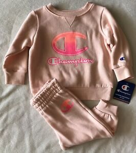 CHAMPION Athleticwear Baby Girl's Fleece Crew & Joggers 2-Piece Set- 12 Months