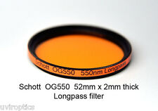 Schott OG550 52mm x 2mm thk 550nm Longpass Infrared Color IR Photography Filter
